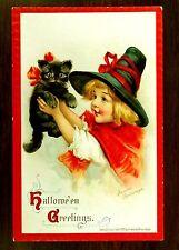 LITTLE RED WITCH BLACK CAT HALLOWEEN Frances Brundage 1910 Fantasy Postcard