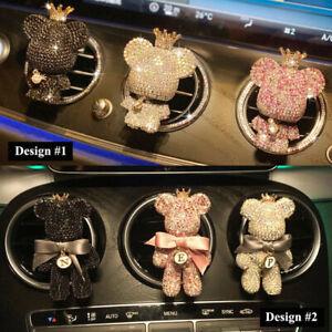 Unique Bling Handmade Crown Bear Air Freshener Car Vent Clip Rhinestone Cute DIY