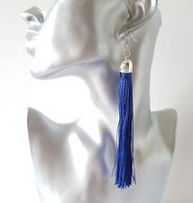 Fashion 12.5cm long BLUE & silver silky tassel drop earrings - Fab quality - NEW