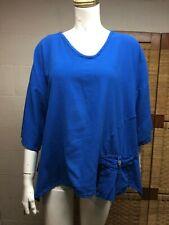 Oh My Gauze Blue 100% Cotton pouch Pocket Flowy Flare Hem Pullover Sz onesize