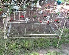 ANTIQUE USA CAST IRON BRASS FINEAL CHILD TOY DOLL DAYBED FLOWER GARDEN BED BENCH