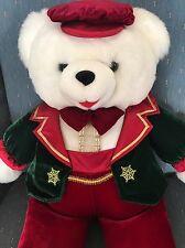 """Snowflake"" Teddy Bear 1998 Red Pants Bow Tie Hat Green Jacket Sitting"