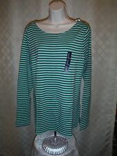 Gap Long Sleeve boat Neck Tee size XL color Green Striped 60%c cotton 40% modal