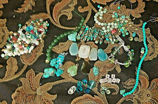 BEADS STONE Jewelry Making New VIntage Findings  Blue /Green Turquoise Jade LOT