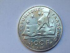 trés belle monnaie 100frs argent Descartes mathématicien et philos 1991 TTB/SUP