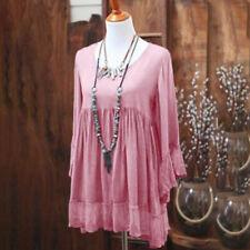 Women Summer Boho Lace Mini Dress Long Sleeve Casual Loose Kaftan Tunic Dresses