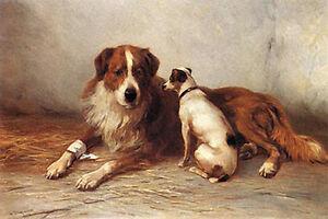 "SMOOTH FOX TERRIER SAINT BERNARD DOG ART PRINT ""Visiting Time"" by Henry Garland"