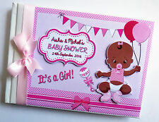 AFRICAN - AMERICAN BABY GIRL BABY SHOWER GUEST BOOK - ANY DESIGN
