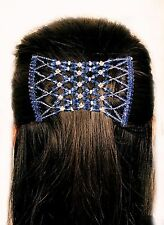 Womens BLUE Diamonds Easy Magic Beads Double Hair Grip EZ Comb Clip Stretchy