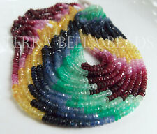 """8"""" precious SAPPHIRE RUBY EMERALD faceted rondelle gem stone beads 2.5mm - 3mm"""