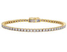 "Mens 1 Row Tennis Real Diamond Bracelet 10K Yellow Gold 2 1/2CT 7.5"""