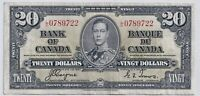 1937 $20 Canada Bank Note Coyne Towers L/E 0789722 - VF