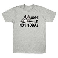 Nope Not Today Funny Lazy Cat Vintage Men's T-Shirt Cat Lover Tee Cotton Black