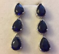 K19 White gold gf blue sapphire dangle earrings Swarovski elements Plum UK BOXED