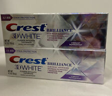 Lot Of 2 Crest 3D White Brilliance Toothpaste, Vibrant peppermint 4.1 oz Each