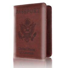 Red Music Genuine Leather Passport Holder Wallet Case Cover for Men Women