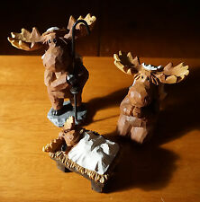 3 PIECE MOOSE NATIVITY SCENE SET Faux Carved Cabin Wood Christmas Lodge Decor