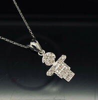 "14K White Gold 0.10ctw G-VS1 Round Cut Diamond Little Boy Pendant Necklace-16"""