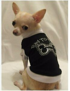 Dog t-shirt/Dog clothes/chihuahua/Bad to the Bone Bling/Medium Free Shipping