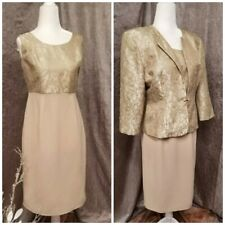 Coldwater Creek Dress and Jacket Mother of the Bride Evening wear Gold Brocade
