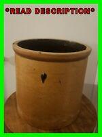 Antique 2 Gallon Unique Brown Color Salt Glaze Stoneware Crock