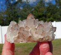 Clear Quartz ORANGE RIVER Crystal Cluster of Points w Hematite Phantoms For Sale