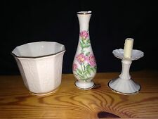 Antique Lenox China Porcelain Lot Candleabra, Planter, and Mothers Day Vase 24kt