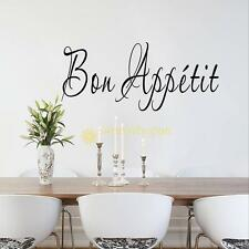 Vinyl Wall Stickers Quote BON APPETIT Dinning Room Decor Kitchen Decals Art NEW