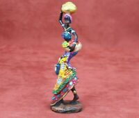 African Woman Statue Tribal Black Lady Vintage Traditional Figurine Hand Painted