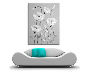 LARGE STUNNING GREY & WHITE FLOWERS BUTTERFLY CANVAS PAINTING WALL ART PRINT NEW