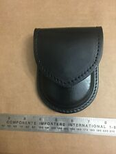 Leather Handcuff Case Pouch Holster With Hidden Snap Black