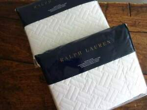 RALPH LAUREN Greenwich DECO WHITE 2 QUILTED Cotton SATEEN EURO SHAMS