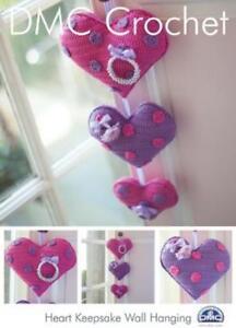 DMC Crochet Pattern for Cute Love Heart Keepsake Valentines Wall Hanging