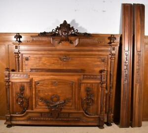 """62"""" Wide Solid Mahogany Antique French Louis XVI Style Bed"""