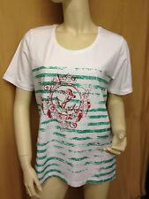 Damen Shirt T-Shirt Oberteil Gr. 44 Weiß grün rot Streifen Anker von Fashion HL