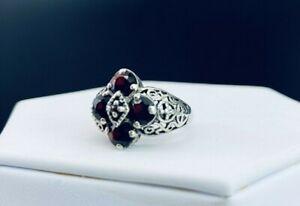 Sterling Silver Garnet Filigree Ring Sz 5.75 G1725