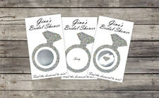 Bridal Shower Scratch Card Game (10ct.) - Glitter Diamond Ring PRINTED cardstock