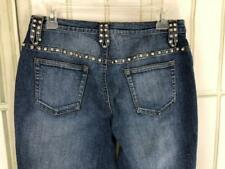 Cache Rhinestone Stonewashed Distressed Bootcut Flare Jeans Size 8