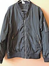 New  Men's Classic Padded Bomber Jacket, Black Size 2XL