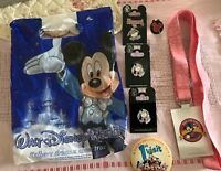 Disney Pin Trading 1 Inch Wide Pink Ribbon NWT + 3 Eeyore & 1 Mickey Pins NEW