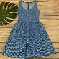 Maeve Anthropologie Caldera Blue Polka Dot Dress Size S Sleeveless Fit Flare