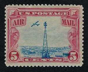 1928 Beacon Low-flying Plane Massive Blue Vignette Shift Error US Stamp MNH #C11