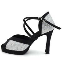 Scarpe da ballo con plateau sandali salsa latino americano nero argento spuntati