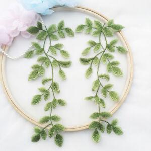 Green Leaves Lace DIY Trim Embroidery Costume Motif Bridal Dress Applique 1 Pair
