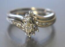 Lovely .30 tcw Diamonds 10k White Gold Bridal Set ~ Size 6 ~ 4 grams