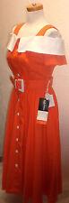 Vintage 80s SL Fashions OrangeWhite DropShoulder Strap Button Dress NWT Sundress