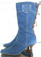 Vintage Jean Boots Size 6 Denim Lace Back High Heel Boots
