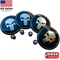 [BUNDLE]  Punisher Wheel Center Hub Cap Sticker Decal & Tire Valve Caps Stem