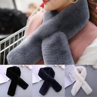 Women Faux Fluffy Fur Scarf Neck Warm Winter Cross Wear Collar Wrap Acces