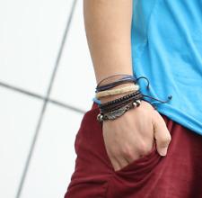Bohemian Men Weave Trendy Bracelets Retro Beads 4Pcs Creative Leather Feather